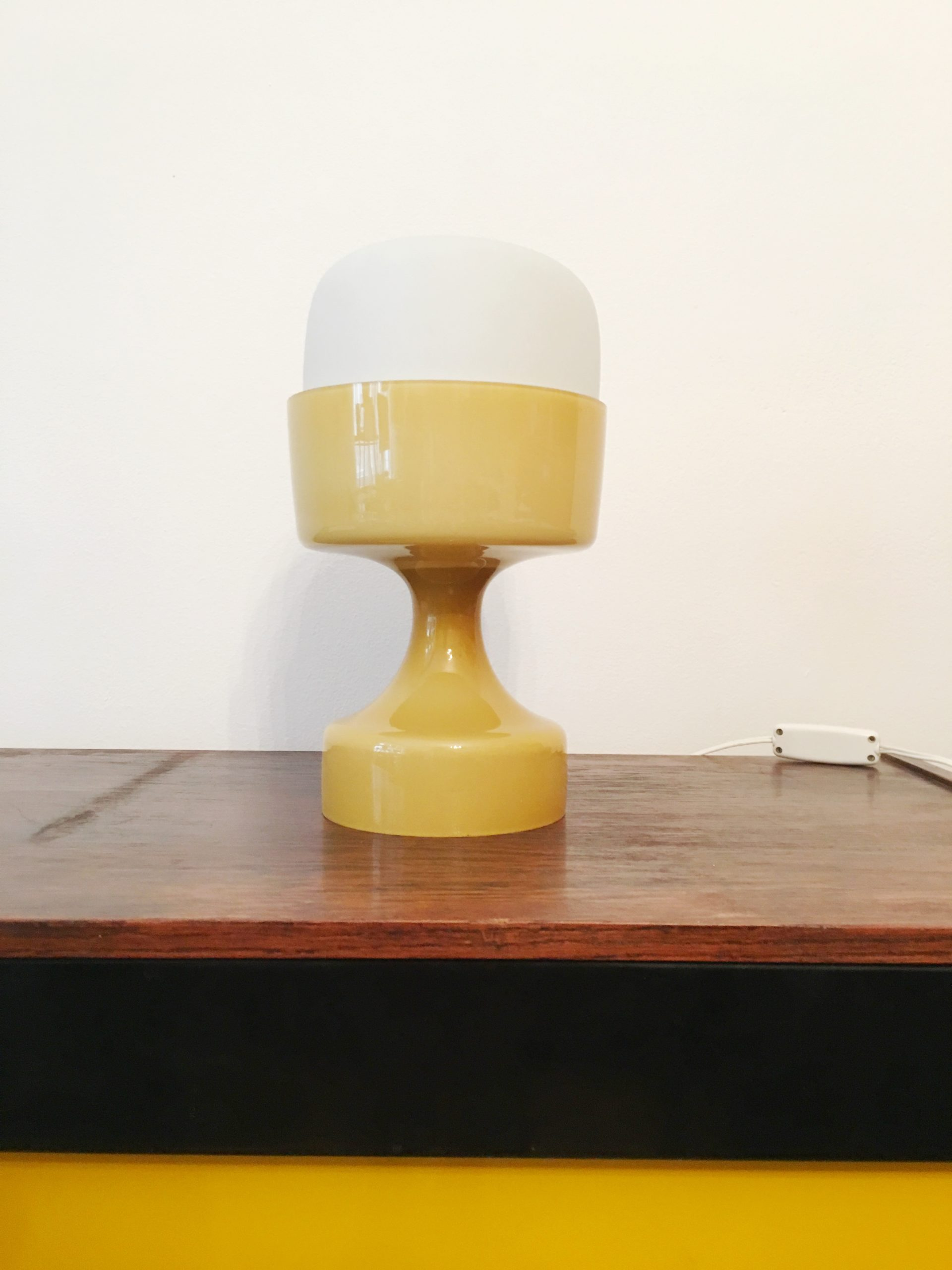 Yellow Glass Table Lamp By Ivan Jakes 1960s Made In Cssr
